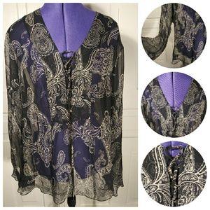 100% silk bell sleeved paisley boho blouse top